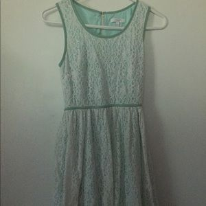 Delia's Aqua Blue Mini Dress White Lace Overlay